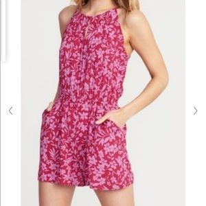 Old Navy Pink/Purple Floral Romper Small